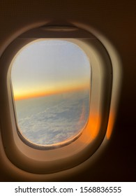Morning flight on beautiful sky, amazing view from the window plane.