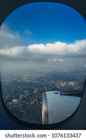 Morning flight, view from the window plane