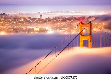 Morning Fog along the Golden Gate Bridge, San Francisco, CA