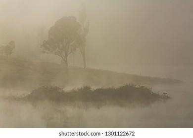 Morning fog at Bundamba Dalys Lagoon, Queensland Australia