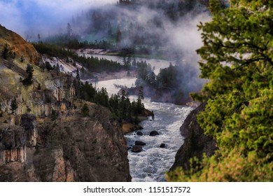 Morning fog is common along the rivers in Yellowstone National Park in Wyoming.  This park is a very popular vacation and travel destination.