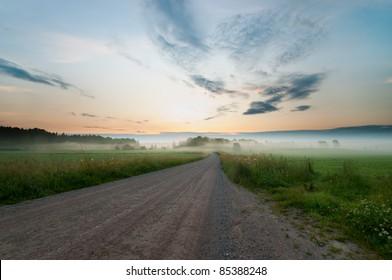 Morning fog in dalsland sweden