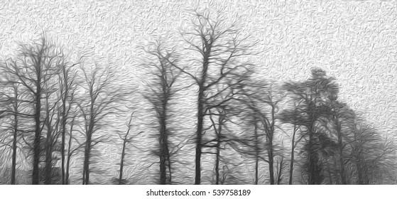 Morning fog in the forest or Mist covered tree in oil painting design black and white background