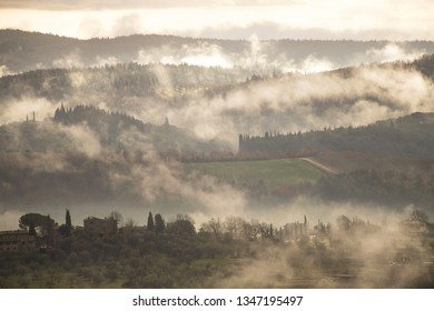 Morning fog in the hills. Fog in the morning in Chianti hills, Tuscany, Italy