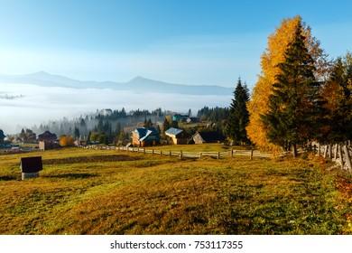 Morning fog on the slopes of the Carpathian Mountains (Yablunytsia village, Ivano-Frankivsk oblast, Ukraine). Autumn rural landscape.