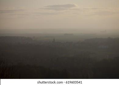 morning fog on village