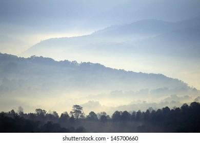 Morning fog over Scenic Highway US Route 219, WV