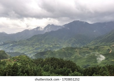 Morning fog,cloudy sky and mountain ranges in Sapa,Lao Cai Province,north-west Vietnam.