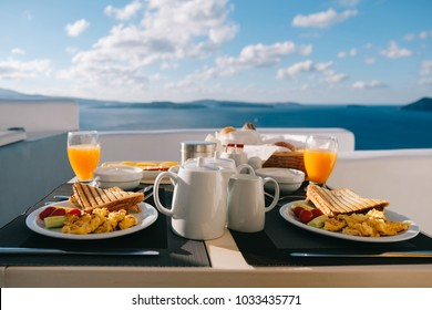 Morning fresh juice and breakfast with  blue sea view