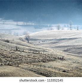 Morning frost on the slopes near Villard de Lanc, France