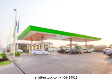 morning fueling station,Out of focus background