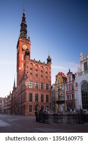 Morning in Gdansk, Poland. City Hall of Main Town on Dulga street. 2 March, 2019