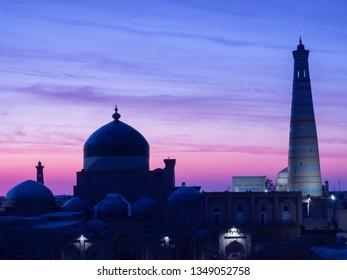 Morning glow of Itchan Kala in Khiva Uzbekistan.