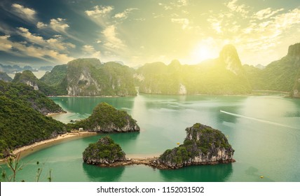 Morning in Halong Bay, Tourist observation tower, Titop Island view, Halong Bay Vietnam