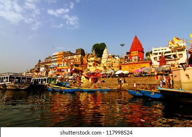 Morning at holy ghats of Varanasi, India
