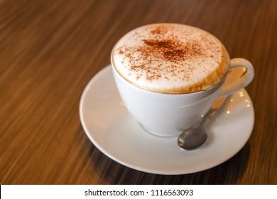 Morning hot cappuccino coffee