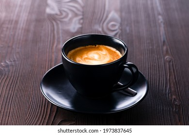 Morning hot Piccolo latte on wooden table, Piccolo latte coffee new taste of coffee with milk