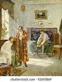 """Morning in the house of noble family. Illustration by artist A.Apnist from book """"Leo Tolstoy """"Childhood, adolescence, youth"""", publisher - """"Partnership Sytin"""", Moscow, Russia, 1914."""