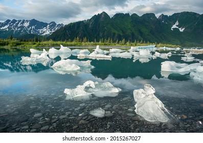 Morning Iceberg River Reflections Near Bear Glacier