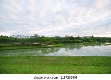 morning joging at the lake