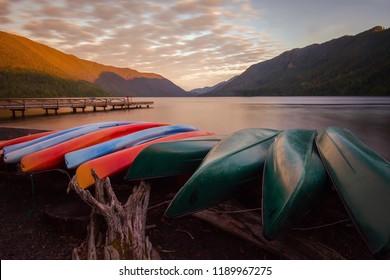 A morning kayak at sunrise out on the lake - Washington state