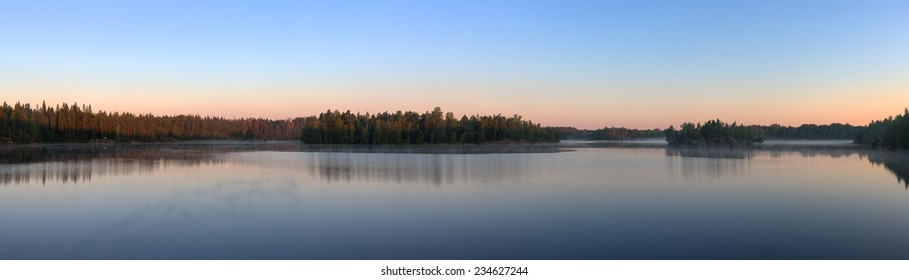 morning landscape in the forest lake, panorama
