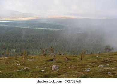 Morning landscape in Lapland, misty mountains, Pallastunturi, Taivaskero