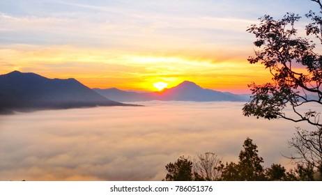Morning landscape on mountain, at Phutork mountai ,ChiangKhan, loei, Thailand.