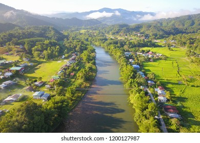 Morning landscape of village with river and green paddy field at Kiulu Sabah Malaysia Borneo.