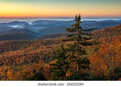 Morning light and autumn foliage in the Blue Ridge Mountains of North Carolina