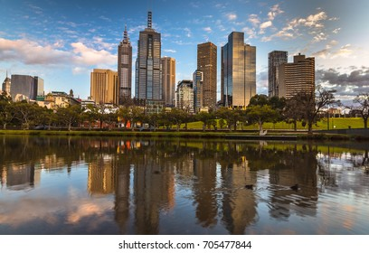 morning light city skyline Melbourne river reflections clear calm sunny day