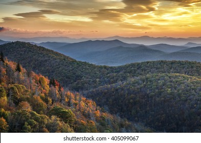 Morning light and fall foliage along the Blue Ridge Parkway in North Carolina