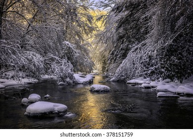 Morning light and fresh snow blanket this pristine mountain stream in the Appalachian Mountains.