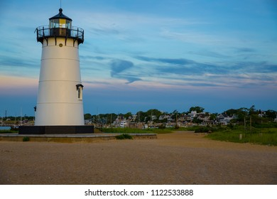 Morning light illuminates Edgartown light house in Martha's Vineyard