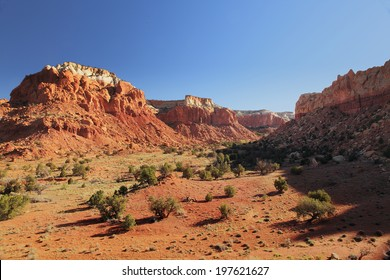 Morning light illuminates the magnificent landscape of Ghost Ranch, Abiquiu, New Mexico