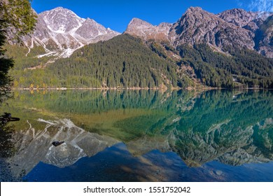 Morning light at Lake Anterselva, Lake Antholz, South Tyrol, in autumn