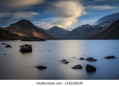 Morning Light. Long exposure photograph, taken at Wastwater, Lake District National Park, Cumbria, England, UK 02/22/2018