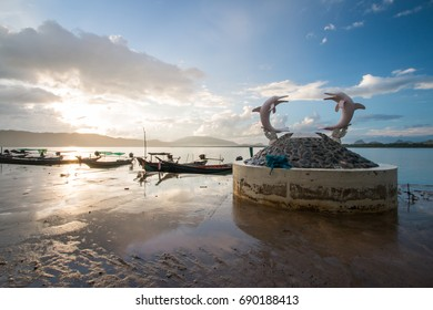 Morning light near the boat port for sightseeing pink dolphin in Khanom District, Nakhon Si Thammarat, Thailand