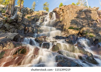 Morning light on Eagle Falls off Lake Tahoe in Emerald Bay State Park, South Tahoe, California.