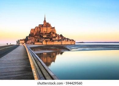 Morning light on Mont Saint Michel and it's reflection in Normandy - France