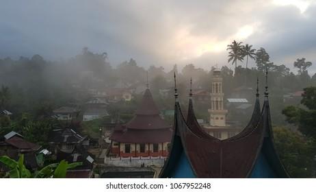 Morning light on Nagari Pariangan Village at Padang West Sumatera Indonesia