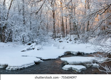 Morning light on the river in the woods in winter