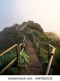 Morning light on stairway to heaven in Oahu, Hawaii