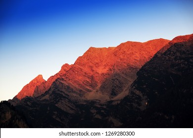 Morning light over the Austrian Alps, Salzkammergut region Upper Austria, Europe