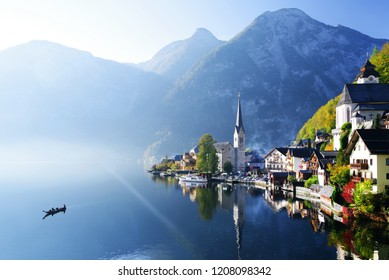 Morning light over Hallstatt Lake in Salzkammergutt, Austria, Europe