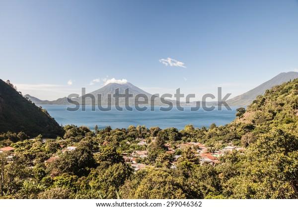 Morning light over Lake Atitlan and Jaibalito in Guatemala