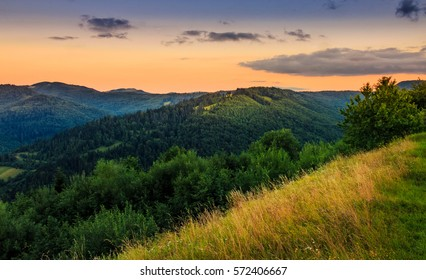 morning light over mountain top viewed from the edge of a grassy hillside