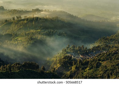 morning light in the rolling hills and villages,locations Lumajang east java