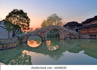 Morning light at Shanghai Xizha old village,