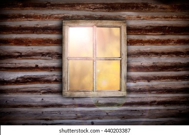 Morning light through cabin window background